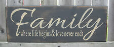 "PRIMITIVE COUNTRY FAMILY~ WHERE LIFE BEGINS AND LOVE NEVER ENDS 20""  SIGN"