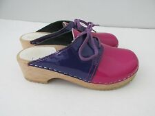 Hanna Andersson Girls Size 35/3Y Pink+Purple Two Tone Saddle Wood Clogs
