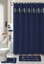 18 piece Bath rug set Beverly NAVY Flower bathroom shower curtain/rings towels