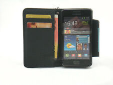 For Samsung Galaxy S II S2 i9100 Black Flip Wallet Card Leather Case Cover Stand