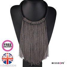 NEW MAXI BLACK LONG CHAIN TASSEL NECKLACE CHOKER WOMENS LADIES CHUNKY BODY CHARM
