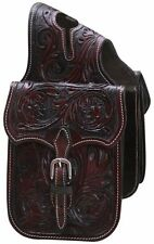 WESTERN HORSE SADDLE HORN BAG OR SADDLE HORN BAGS HAND TOOLED BROWN LEATHER