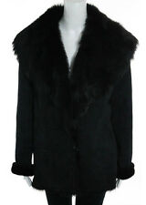 ZANDRA RHODES Black Suede Shearling Lined Lng Sleeve Fur Coat Sz M