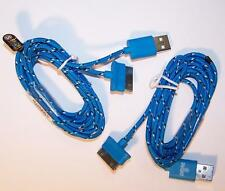 2 BLUE SIX FT IPHONE 4 I PAD CHARGING CABLE CORDS charge cord usb cell phone RD