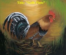 """New !!'"""" Rooster"""" Cuban Oil Painting 18"""" x 12"""". Reduce Price"""