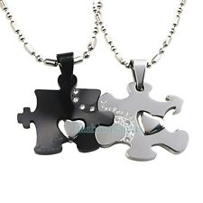 "Matching Stainless Steel ""Just For You"" Couple's Puzzle Pendant Necklaces Black"