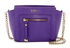 NWT Women's Furla Ginerva Mini Leather Crossbody Viola Purple Bag