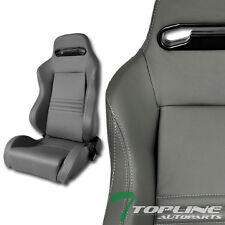 T-R SPORT GRAY STITCH PVC LEATHER RECLINABLE RACING BUCKET SEATS+SLIDER PAIR T14
