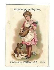 Old Trade Card Weaver Organ & Piano Factory York PA