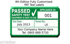 1040x 4th Edition PAT Test Labels Personalised (Portable Appliance Stickers)