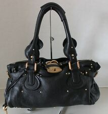 Authentic Chloe Black leather Paddington Medium Satchel Shoulder  Purse