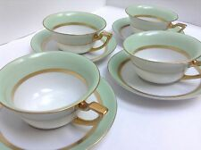 Bavaria Tirschenreuth Clyde Tea Cup & Saucer Green & White w Gold Rim Many Avail