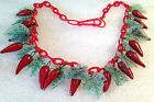 Vintage early plastic leaves and red peppers necklace
