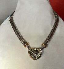 David Yurman Sterling Silver 18k Gold .12ct Diamond Cable Heart Pendant Necklace