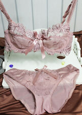Womens Sexy Underwear Transparent pink Lace embroidery Bra sets/panties 38/85 B