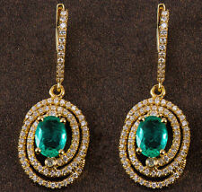 18ct Yellow Gold Natural Emeralds and Diamond Earrings Retail £6500