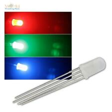 10 LED 5mm RGB diffus, 4-polig steuerbar, diffuse LEDs 3-Chip RGBs 4-pin + Zubeh