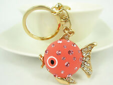 KC083 N Fish Keyring Cute Swarovski Crystal Charm Pendant Key Bag Chain Gift