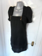 ❤ Gorgeous Ladies Size 14 Black Silky Feel Tunic Dress Lined Gold Buttons NEW!!