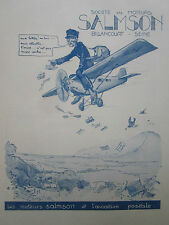 3/1930 PUB MOTEURS SALMSON AVIATION POSTALE FACTEUR LETTRE GEORGES VILLA AD