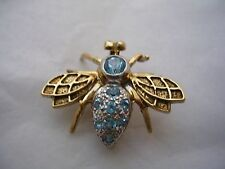 BEE PIN & PENDANT WITH SWISS  BLUE TOPAZ SET IN 14KT GOLD