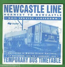 #T49. CITYRAIL  NEWCASTLE LINE TEMPORARY BUS TIMETABLE NEW YEAR 1992/1993