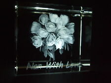 LASER CRYSTAL PAPERWEIGHT NAN WITH LOVE 3593 GIFT BOXED