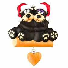 BLACK BEAR COUPLE Family Of 2 Personalized Christmas Tree Ornament X-mass Noel