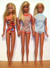 Lot of 1970s Mattel Malibu Barbie Dolls - Korea - Dressed - GUC