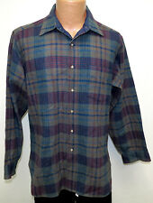 vtg Pendleton GRAY-OLIVE Navy Red Teal Wool Flannel Shirt LARGE usa 80s plaid L