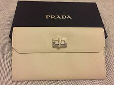 PRADA IVORY LEATHER WALLET CLUTCH