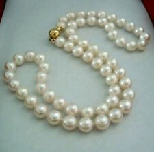 17'' Natural 8-9MM White Akoya Pearl Necklace 14K Clasp Jewelry  H--066