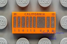 NEW Lego CALIFORNIA LICENSE PLATE 1x2 ORANGE TILE - DeLorean Time Machine 21103