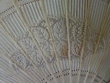 ANTIQUE BOVINE BONE HAND CARVED PIERCED STICKS HAND FAN EVENTAIL FOR REPAIR