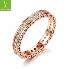 Classic Wedding Finger Ring With Rose Gold Plated For Women Silver Ring Size 9