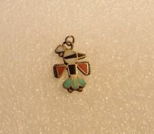 STERLING SILVER TURQUOISE MOTHER OF PEARL ONYX CORAL INLAY BIRD PENDANT N619-A