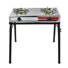 2 Burner Stove Stand Portable Outdoor Propane Camping Stainless Steel Tailgating