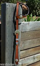 "Stunning 5/8"" Basket Tooled One Ear Show Headstall - Light Oil - Hansen Silver"