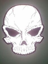 "(L08) Large Cracked REFLECTIVE SKULL 8"" x 10"" iron on back patch (3169)"