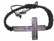 Christian Catholic Crystal Diamante Cross Adjustable Bracelet