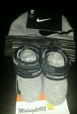 NEW NIKE BABY INFANT HAT & BOOTIES GREY/BLACK SET SIZE 0-6 MONTHS