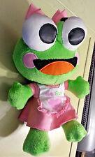 "Sweet Frog Frozen Yogurt Promo Plush 11"" Pink and Green Girl Bow"