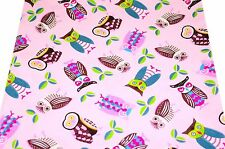 ~ [FQ] Cute Mix Owl Style on Lavender Pink 100% Cotton Fabric ~ Free Shipping