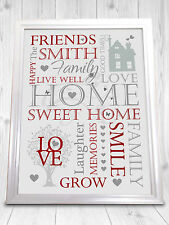 Personalised Family Sign Home Sweet Home Gift Friendship Mothers Day Xmas Love