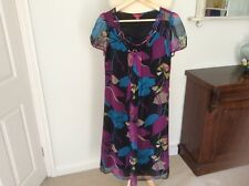Stunning Monsoon sheer dress uk 8 black with purple and blue design ex con