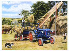 Beautiful Print Picture Painting Building a Hayrick Country Tractor Crops Poster