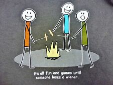 XL Campers Gray Tee Shirt Fun & Games Until Someone Loses Wiener Campfire BBQ