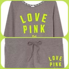 VICTORIA'S SECRET PINK BEACH CREW SHORT OUTFIT SLOUCHY TOP Set NWT S Grey Green