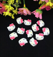 12pcsDIY Cute Resin HELLO KITTY Rose Bow flatback Scrapbooking For phone /craft