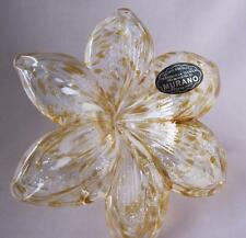 Hand Made Murano Glass AMBER ORANGE Colored Flower with twisted stem Italy